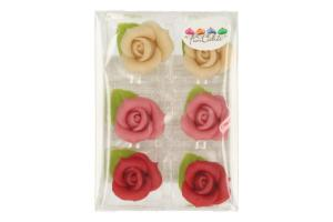 FUNCAKES MARZIPAN 6 ROSES W LEAVE -RED/PINK/WHITE-
