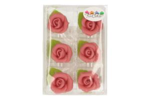 FUNCAKES MARZIPAN 6 ROSES W LEAVE PINK