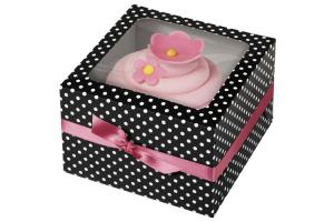 Wilton Cupcake Box Black & White Dots pk/3