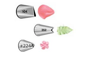 Wilton Decorating Tip Set Petal #104, Leaf #352, Flower #224