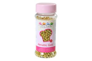 FunCakes Zuckerperlen 4mm gold Metallic-80 g